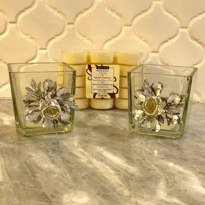 Other - Glass Holiday Floral Votives